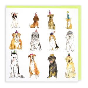 Card with pale green envelope. A card filled with twelve different breeds of dog, all are wearing different coloured party hats.