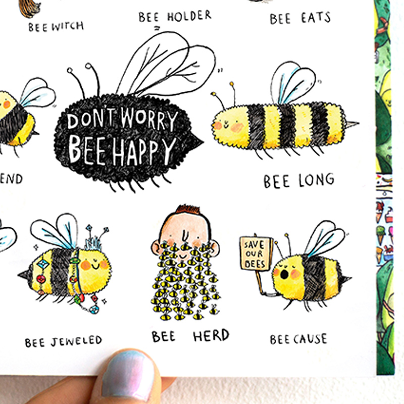 Dont-Worry-Bee-Happy_-Bee-pun-greetings-card.-Save-the-bees-greetings-card_MP18_CU