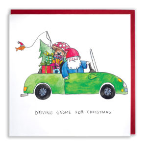 A garden gnome with a blue coat and a red cap is in a green car filled with Christmas presents, a tree, a mushroom and a fishing line. Text: 'Driving Gnome for Christmas'.