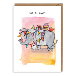 Card with brown envelope. Pink and yellow watercolour background. An elephant decorated in bunting is dancing and waving her trunk. She has cake and presents on her back. Text reads 'Ear to party'.