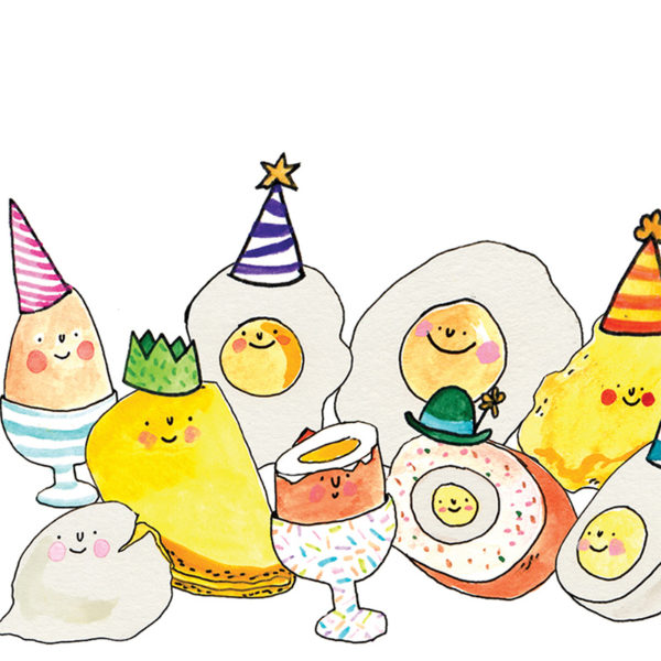 Lots of different eggs; omelettes, poached, scrambled etc. All are wearing party hats.