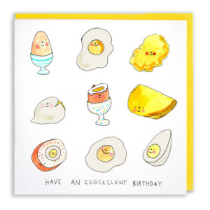 Card with yellow envelope. Lots of different types of eggs, fried, boiled, scrambled etc. Text below reads 'Have an eggcellent birthday'.