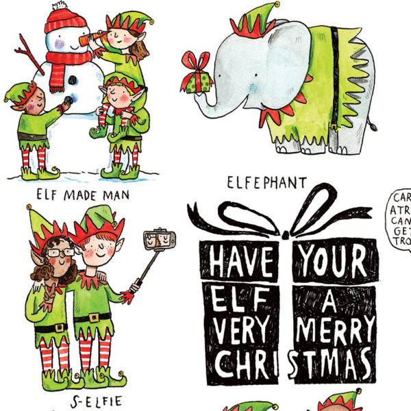 A black present with white writing on it 'Have Your Elf A Very Merry Christmas'. An elephant, 'elfephant' and two elves taking a selfie, three elves making a snowman, 'elf made man'.
