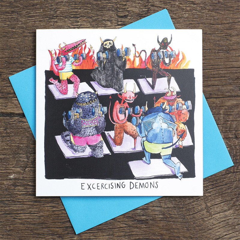 Exercising-Demons_Halloween-greetings-card-with-demon-pun.-Funny-card-for-yoga-instructors-and-gym-goers_HW02_FLC