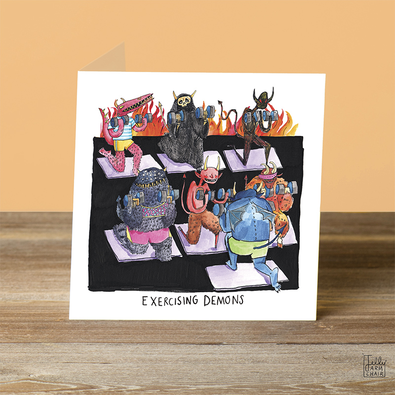 Exercising-Demons_Halloween-greetings-card-with-demon-pun.-Funny-card-for-yoga-instructors-and-gym-goers_HW02_OT