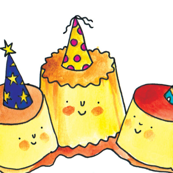 Three flans in syrup are all wearing colourful party hats and smiling.