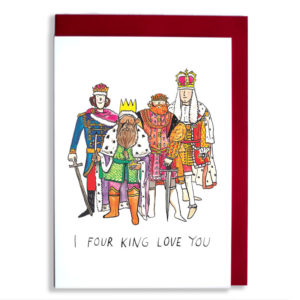 Red envelope with card. Four kings in various coloured robes are all standing together. Text: I four king love you'.