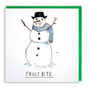A snowman with a black hat on and a blue woollen scarf. He also has icicle fangs! Text reads: 'Frostbite'.