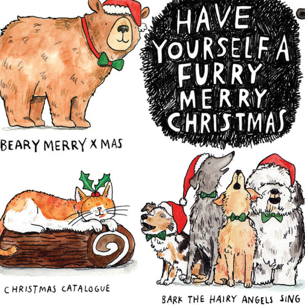 A black furry ball with white writing in the middle, 'Have Yourself A Furry Merry Christmas'. A bear, a cat and a group of dogs are around this with puns written below.