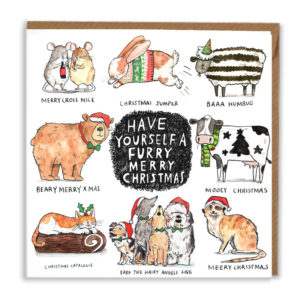 A black furry ball with white writing in the middle, 'Have Yourself A Furry Merry Christmas'. This is surrounded by eight animal puns, from cows to rabbits.