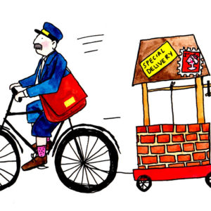 A postman with a moustache is on a bicycle pulling a water well behind him. The well has 'special delivery' and a stamp on it.