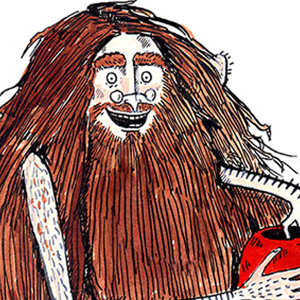 A man with lots of brown hair and a long bear is smiling, he has glasses on and is holding a red pot.