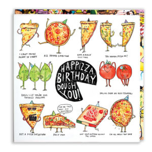 A black circle missing a slice, inside in white in 'Happy birthday dough you!'. Around this are ten pizza puns.