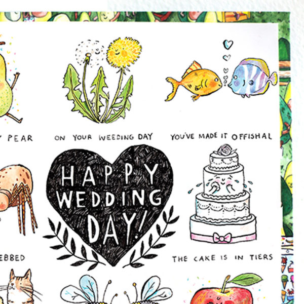 A black heart with 'Happy wedding day inside it. Around this are wedding puns.