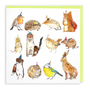 Card with pale green envelope. A card willed with twelve different types of hedgerow creature, from robins to hedgehogs! All are wearing different coloured party hats.