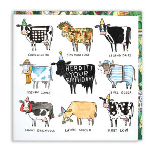 A black cow with a party hat, inside is 'Herd its your birthday!'. Surrounded by 8 cow puns.