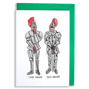 Two knights wearing armour, they have red plumes on their helmets. One has its finger to his lips, the other is full of holes like a cheese. Text below reads 'Silent Knight, Holy Knight'.