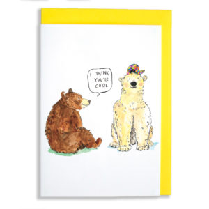 Yellow envelope on card. A brown bear is sitting looking at a polar bear and saying 'I think you're cool'. The polar bear is looking at you and is wearing a multicoloured cap.