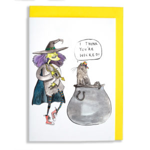 Yellow envelope with card. A green witch with purple hair, red sneakers, stripy tights and a gold chain is dancing and looking at a cat sat in a cauldron with a colourful cap on. The cat is saying 'I think you're wicked'.