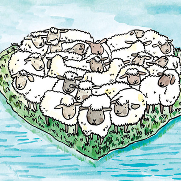 A close up of a herd of sheep on an island in the shape of a heart.