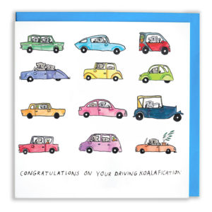 A square card with a blue envelope. Lots of colourful ccars with koalas inside them. Text reads 'Congratulations on your driving koalafication'.