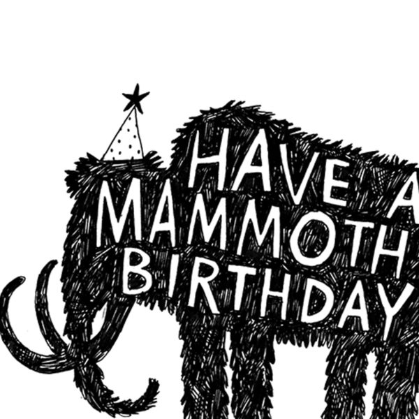 A black silhouette of a Monmouth wearing a party hat. White text on the mammoth reads 'Have a mammoth birthday'