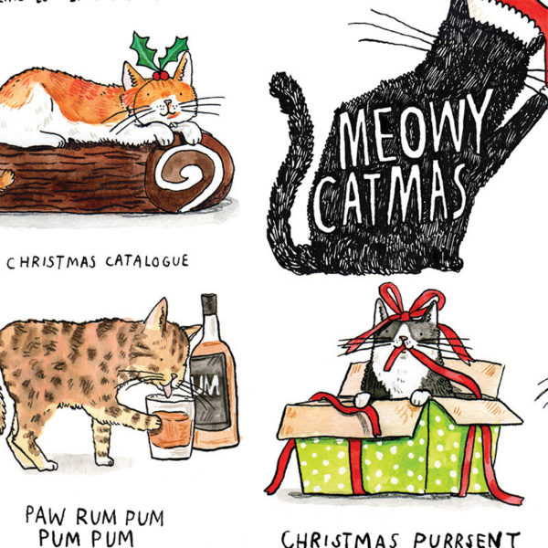 A black silhouetted cat with a santa hat, inside the cat it says 'meowy christmas'. A cat in a box, a cat licking some rum, and a cat on a yule log surround this. Puns are written below each.