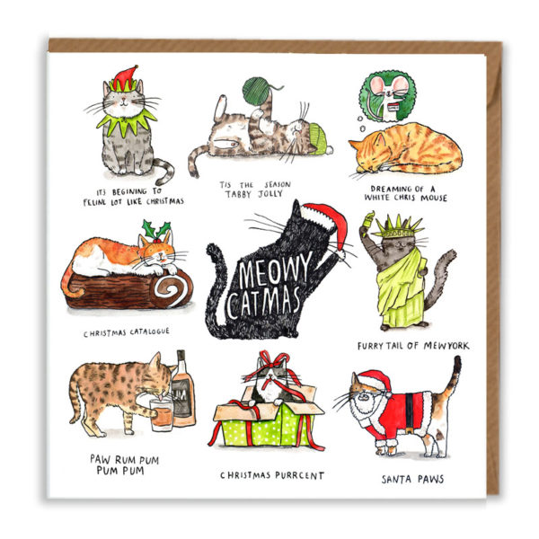 A black silhouetted cat with a santa hat, inside the cat it says 'meowy christmas'. Surrounding it are eight cat xmas puns!