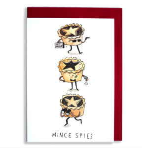"Three mince pies, one has sunglasses, a gun and a brief case. One has a bow tie and cocktail, and one has binoculars. Text below reads ""Mince Pies'."