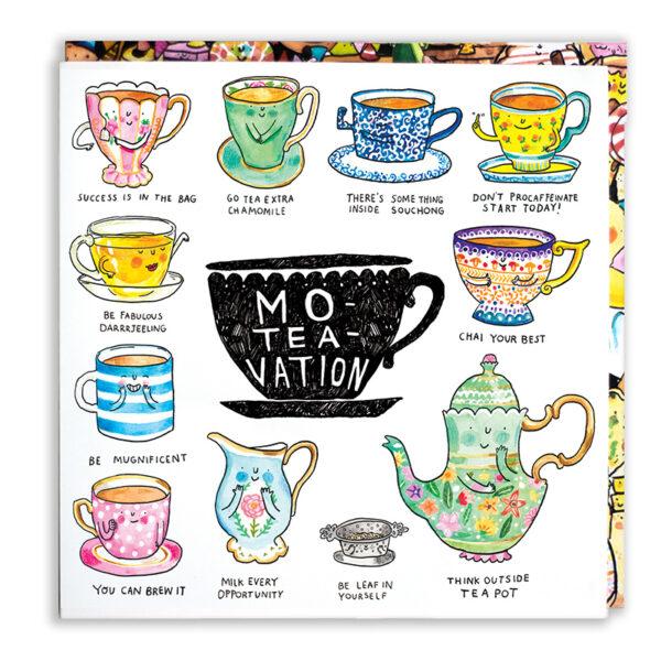 A black teacup, inside is 'Mo-tea-vation'. Surrounding this is 11 tea puns.