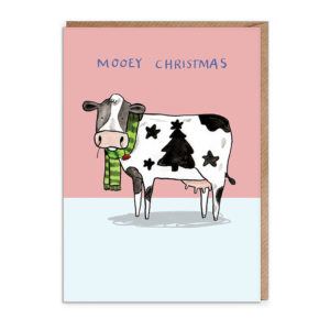 Top half of card pink, bottom light blue. A black and white cow with a splodge the shape of stars and a tree. It's wearing a green stripy scarf and chewing a red flower. Text reads 'Mooey Christmas'.