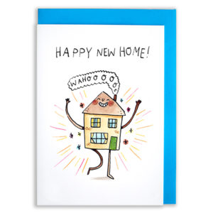 A card with a blue envelope tucked inside. A house with arms and legs and a big smile is jumping for joy. Surrounding it are brightly coloured stars and lines. Text reads 'Happy New Home'