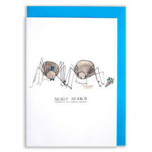 A card with a blue envelope tucked inside. Two spiders, one dressed as a bride one as a groom. They are holding hands. The text reads 'Newly Webbed'