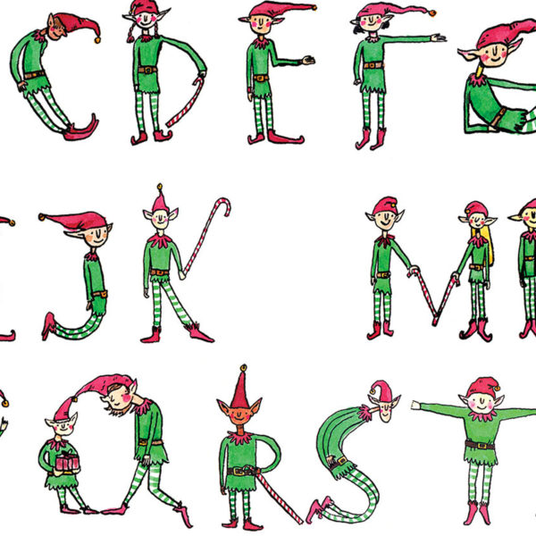 the alphabet is shown, and Christmas elves in different poses form the letters.