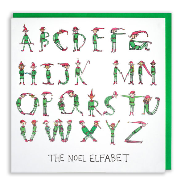 Lots of elves in red hats, green tops and stripy leggings are spelling the alphabet, but they missed out 'L'. Text reads 'The noel elfabet'.