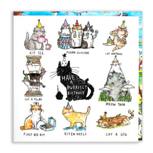 A black cat with a party hat, 'Have a purrfect birthday'. Surrounded by 8 cat puns.
