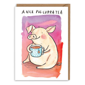 Card with brown envelope. A pink/red watercolour background. A friendly pig is sat holding a blue spotty teacup. Text above reads 'A nice pig cuppa tea'.