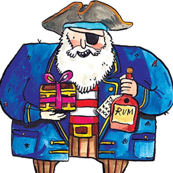 A close up of a pirate with a white beard holding a bottle of rum and a gift wrapped in a bow.