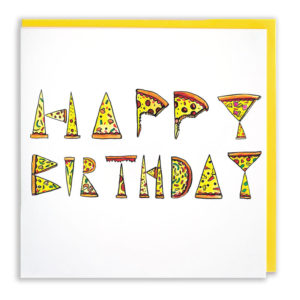 Card with yellow envelope. The words 'Happy Birthday' are spelled out in pizza slices.