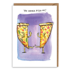 Card with brown envelope. Purple watercolour background. Two angry-looking slices of pizza are holding their fists up at each other, ready to fight! Text above reads 'You wanna pizza me?'.