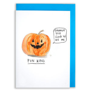 Blue envelope with card. An orange pumpkin is grinning and saying 'Orange you glad to see me'. Text below reads 'Pun King'.