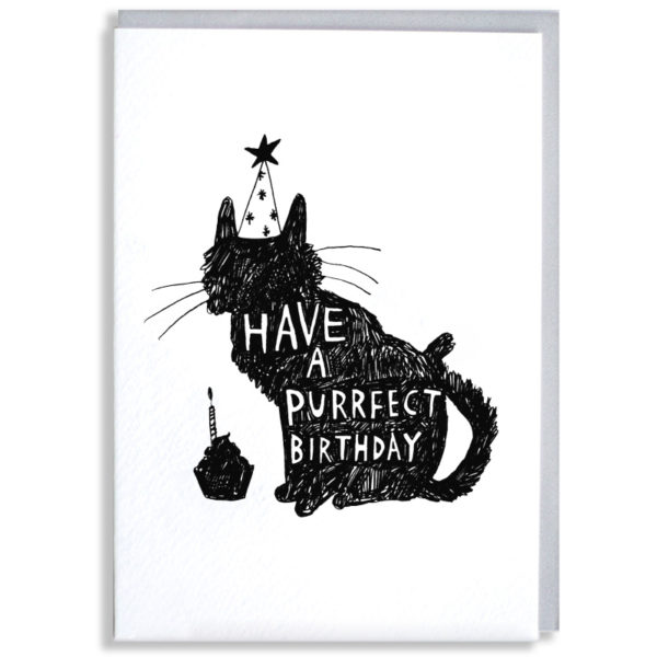 A black silhouette of a cat with a party hat and a cupcake, inside the can in white it says 'Have a purrfect birthday'.