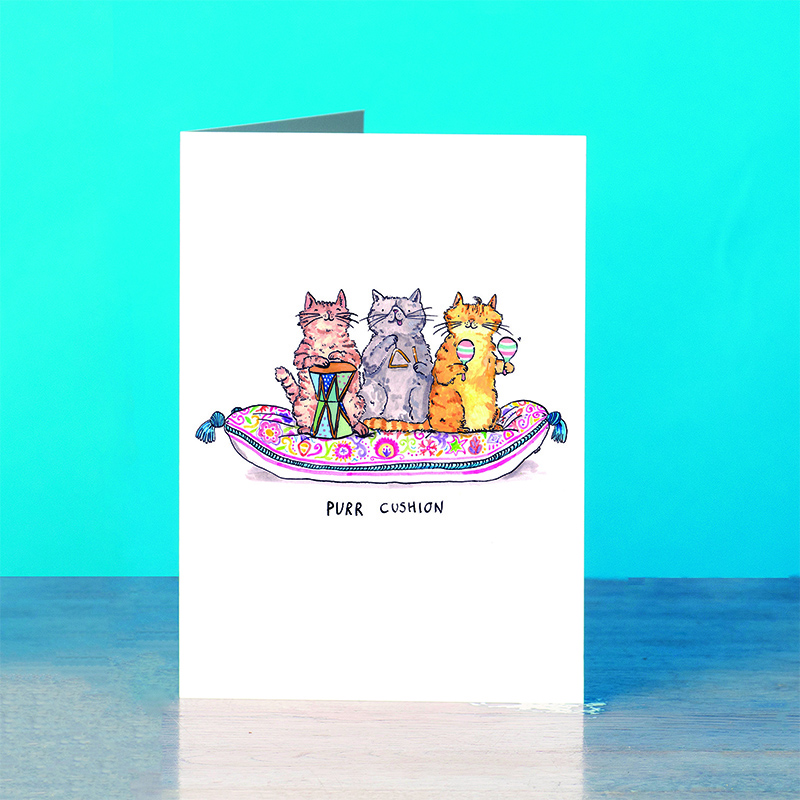 Purr-Cushion_Greetings-card-for-cat-lover-_SM37_OT