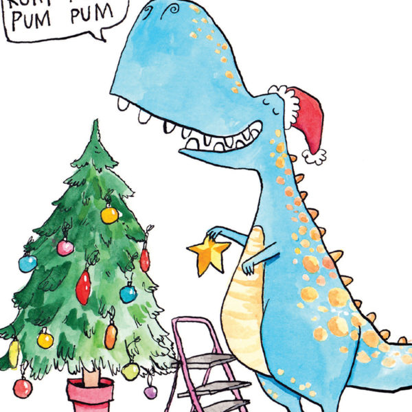 Big blue T-rex wearing a Santa hat is decorating its Christmas tree. It is holing a gold star for the top of the tree.