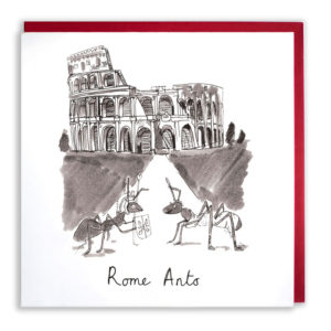 A greyscale drawing of the colosseum, two ants are in front, one dressed as a centurion the other in a robe. Text reads 'Rome Ants'.