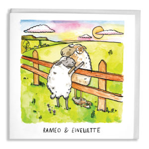 A ram and a ewe are both cuddling over a fence separating their fields as the sun sets. Text: 'Rameo & Eweliette'.