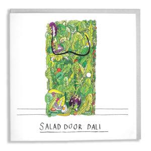 A door made out of salad, it has a moustache like Dali. Text below reads 'Salad Door Dali'.
