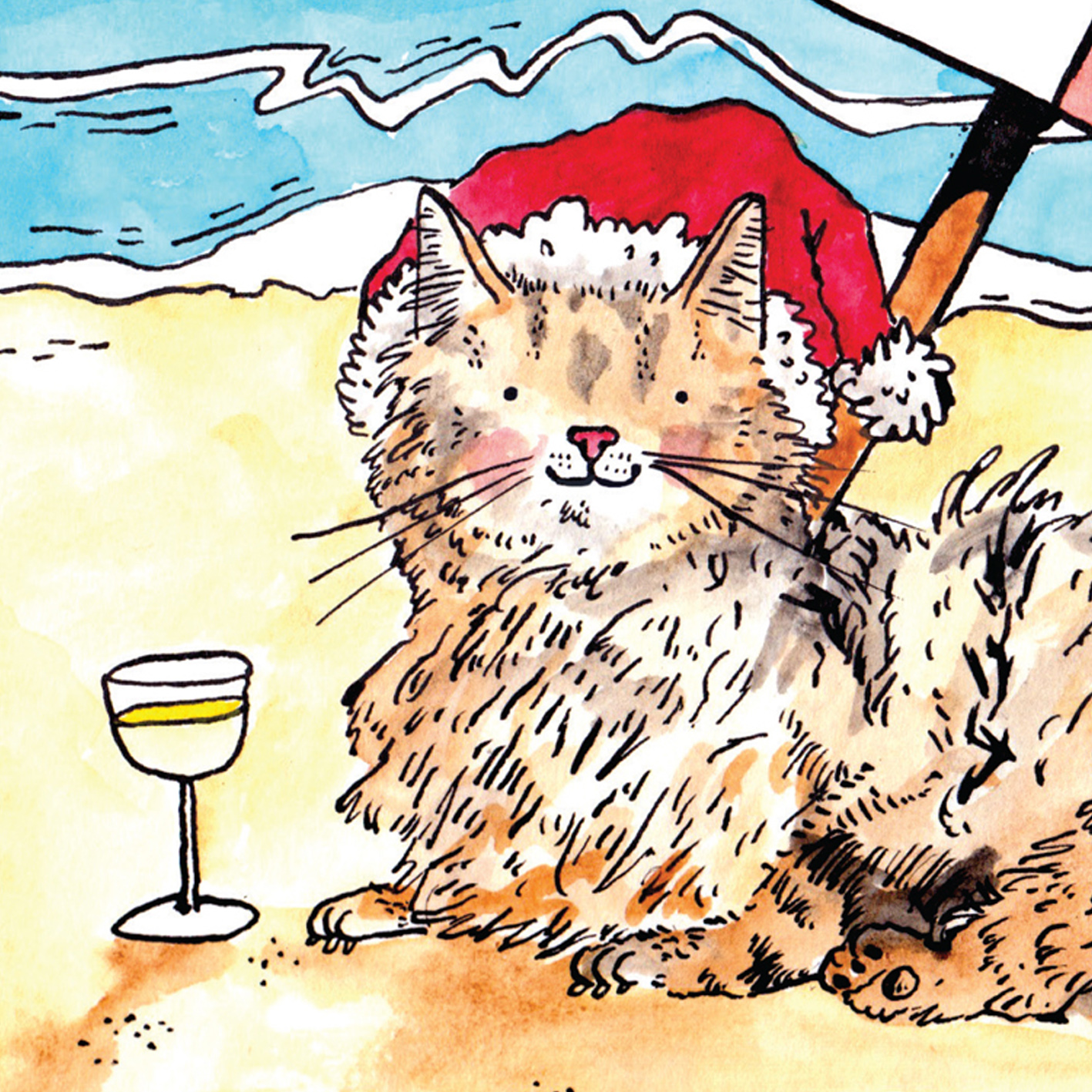 Sandy-Claws_Beach-themed-Christmas-card-with-cat-puns.-Christmas-cards-for-cat-owners_CH03_CU