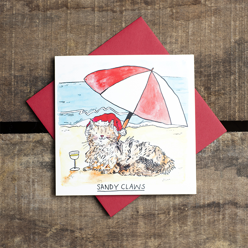 Sandy-Claws_Beach-themed-Christmas-card-with-cat-puns.-Christmas-cards-for-cat-owners_CH03_FLC