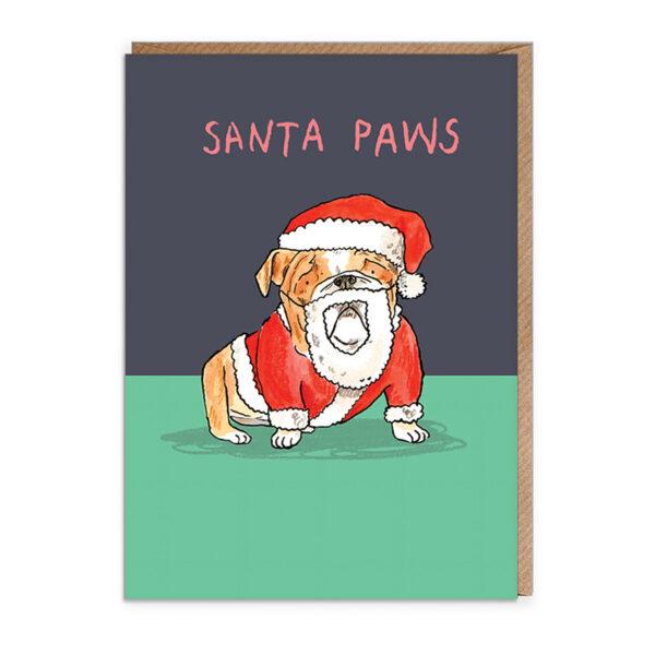 Top half of card dark blue, bottom green. A bulldog is wearing a Santa Outfit. Text above reads 'Santa Paws'.